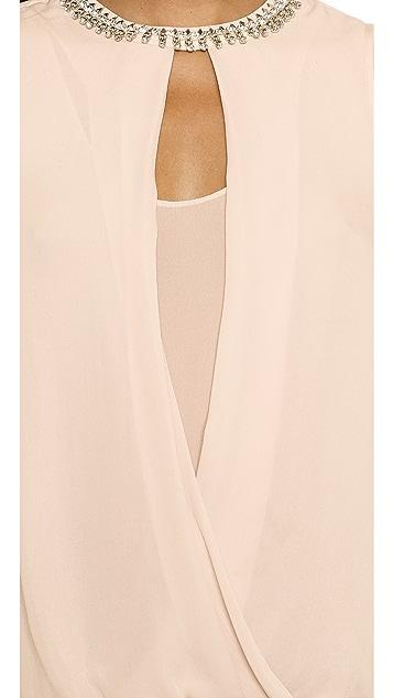 Rebecca Taylor Embellished Drape Top