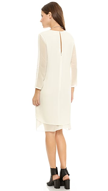 Rebecca Taylor Long Sleeve Cady Chiffon Shift Dress