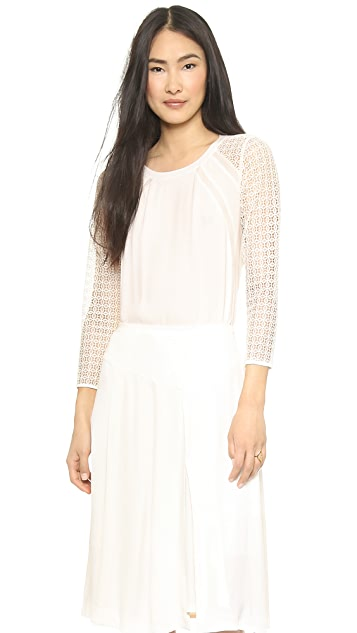 Rebecca Taylor Lace Sleeve Crepe Top
