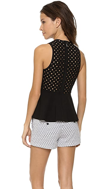 Rebecca Taylor Sleeveless Diamond Eyelet Top