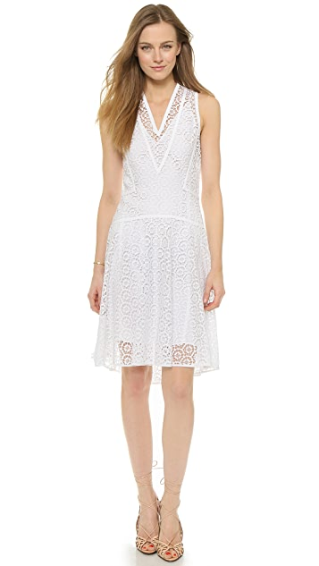 V Neck Tile Lace Dress