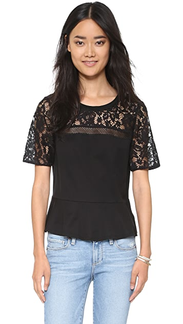 Rebecca Taylor Guipure Lace Ruffle Tee
