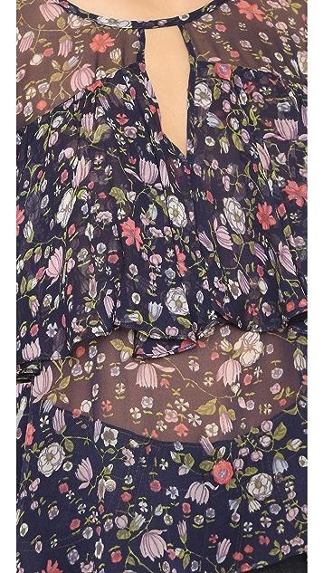 Rebecca Taylor Long Sleeve Tapestry Chiffon Blouse