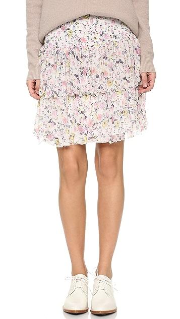 Rebecca Taylor Tapestry Grid Smocked Skirt