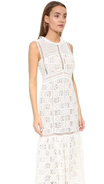 Rebecca Taylor Sleeveless Lace Crochet Dress