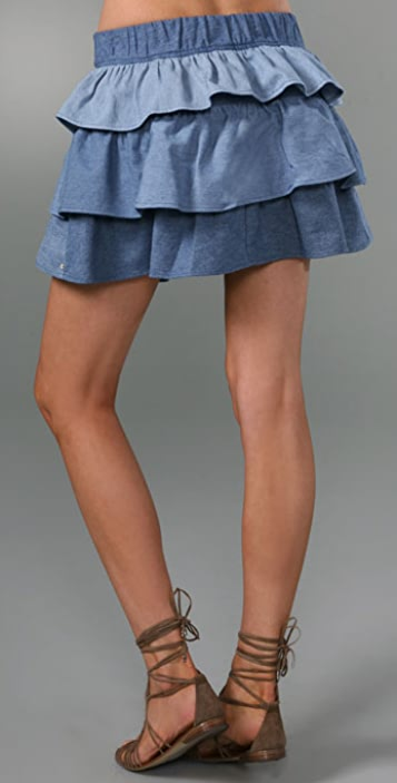 Re Collection Chambray Ruffle Skirt