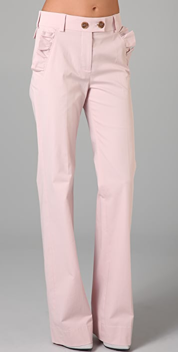 RED Valentino Wide Leg Pants with Ruffle Pockets