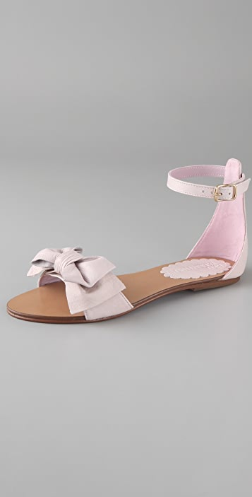 9ccd21811d3d RED Valentino Bow Flat Sandals