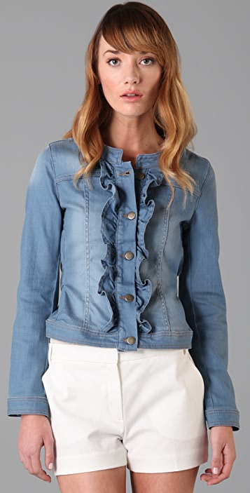 RED Valentino Ruffle Washed Denim Jacket