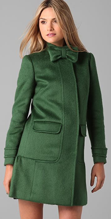 RED Valentino Mohair Coat with Bow Detail