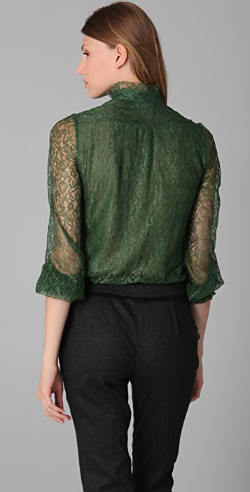 RED Valentino Mock Neck Lace Blouse