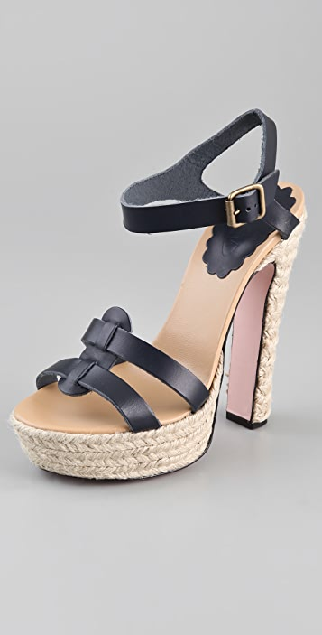 RED Valentino Jute Platform Sandals
