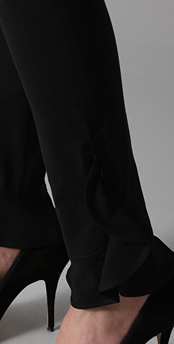 RED Valentino Skinny Pants with Ankle Ruffles