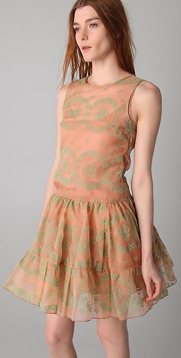 RED Valentino Flocked Rosette Sleeveless Dress