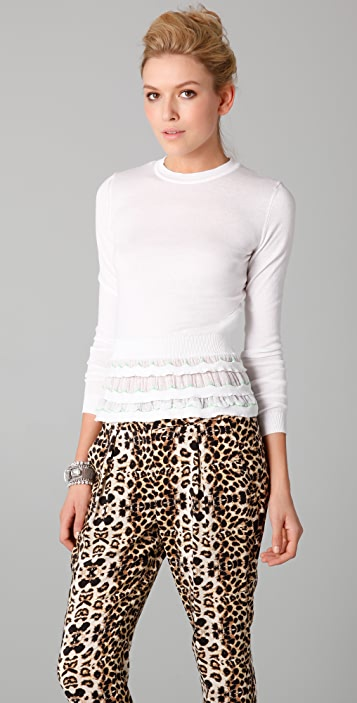RED Valentino Crew Neck Sweater with Tiered Ruffle Bottom