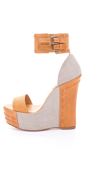 RED Valentino Ankle Cuff Wedge Sandals