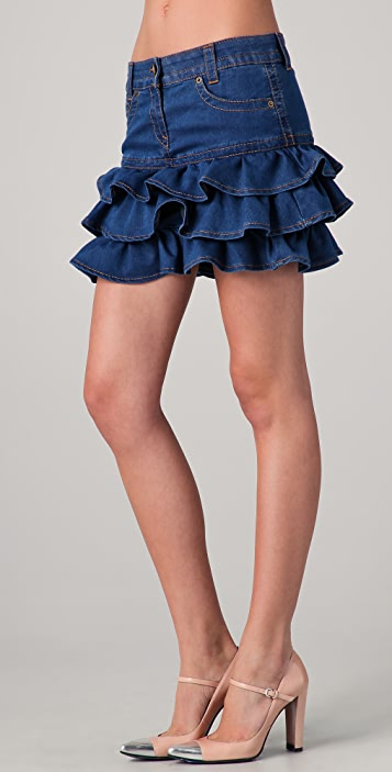 25cff2dbf1 RED Valentino Tiered Denim Miniskirt | SHOPBOP