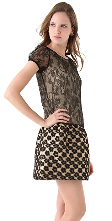 RED Valentino Leopard Flower & Lace Dress