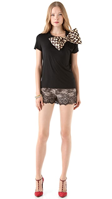 RED Valentino Jersey Leopard Bow Tee