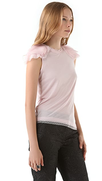 RED Valentino Tulle Shoulder Tee