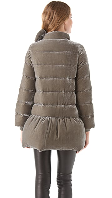 RED Valentino Velvet Puffer Coat