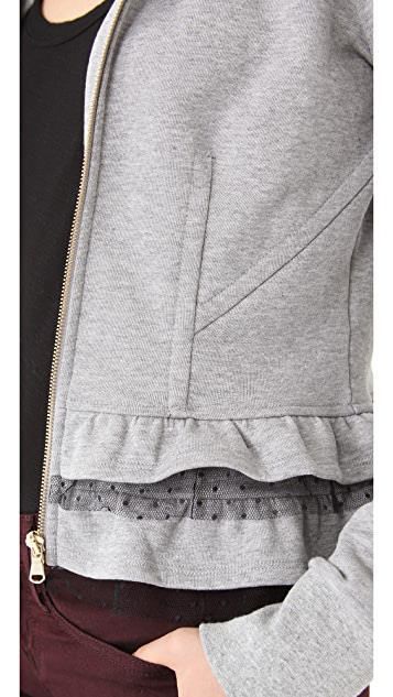 RED Valentino Lace Trim Zip Up Hoodie