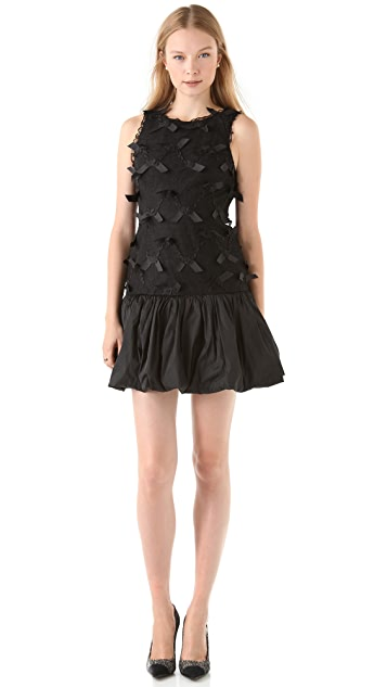 RED Valentino Ribbon Embroidered Drop Waist Dress