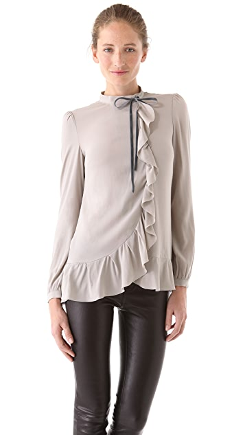 RED Valentino Ruffle Blouse with Velvet Bow