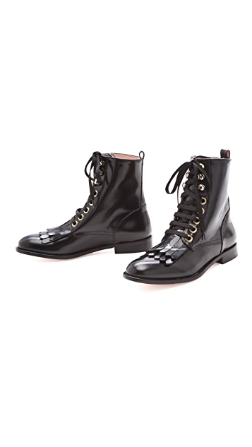 RED Valentino Fringe Lace Up Boots