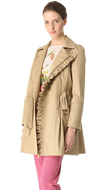 RED Valentino Ruffle Trim Trench Coat