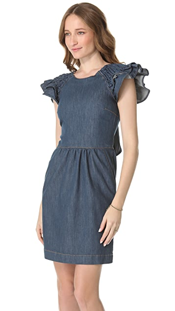 RED Valentino Flutter Sleeve Denim Dress