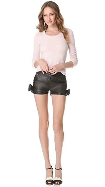 RED Valentino Leather Bow Shorts