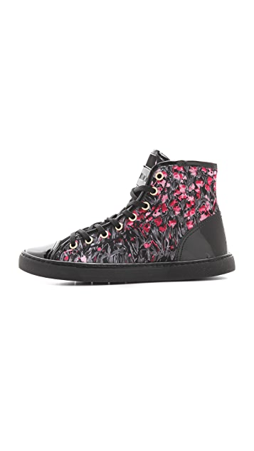 RED Valentino Floral Lace Up High Top Sneakers