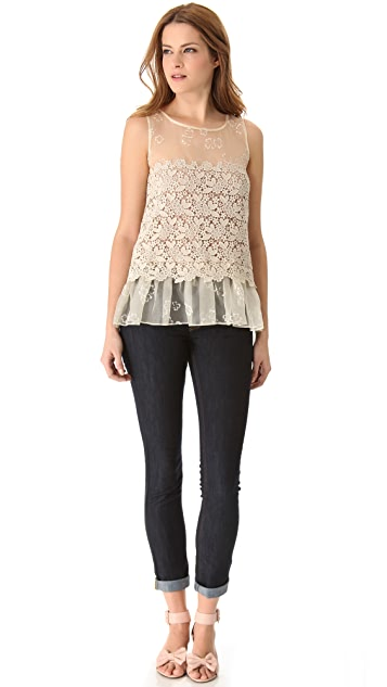 RED Valentino Four Leaf Clover Organza Top