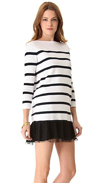 RED Valentino Striped Sweater Dress with Chantilly Lace