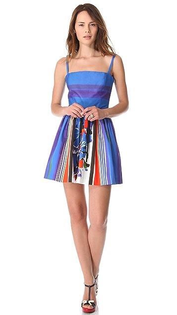 RED Valentino Flowers & Stripes Sleeveless Dress