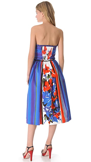 RED Valentino Flowers & Stripes Strapless Dress