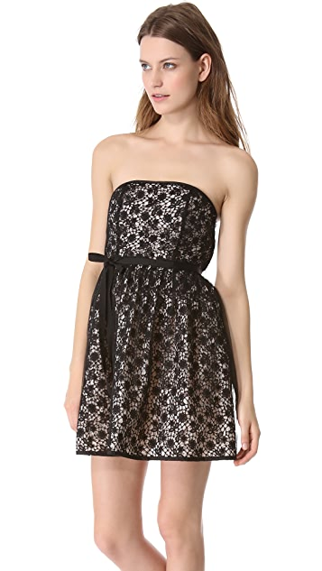 RED Valentino Strapless Lace Dress