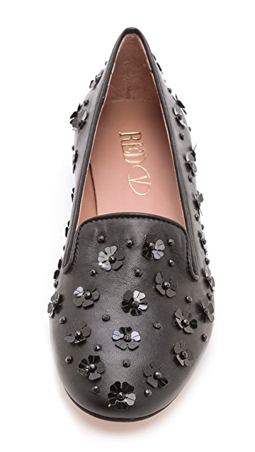 RED Valentino Flower Sequin Flat Loafers