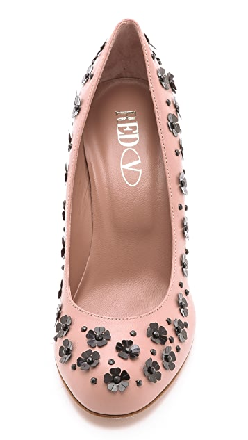 RED Valentino Flower Sequin Pumps