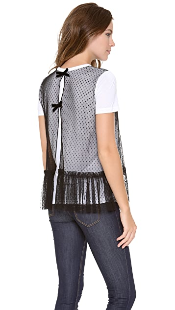 RED Valentino Dot Lace Collar Top