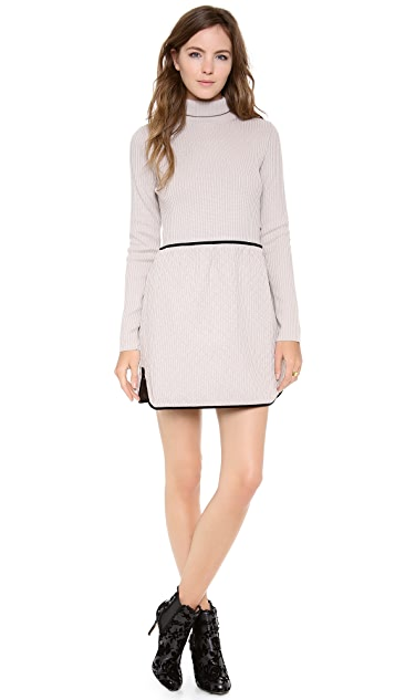 RED Valentino Turtleneck Quilted Velvet Dress
