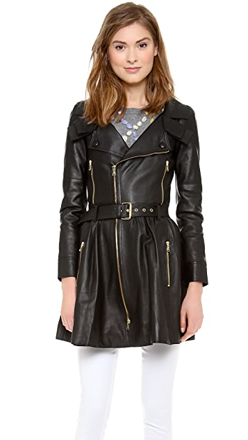 RED Valentino Long Leather Coat