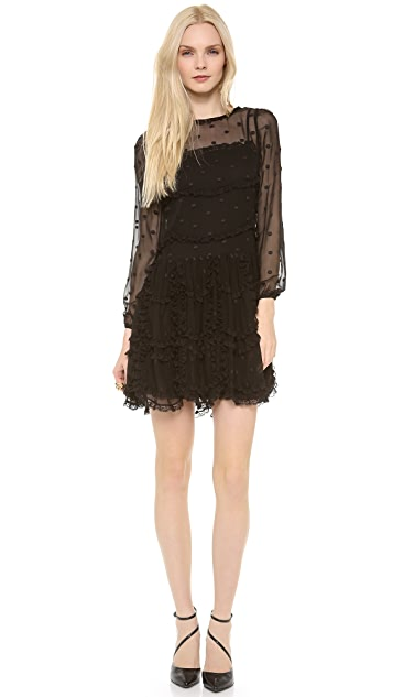 RED Valentino Polka Dot & Lace Dress