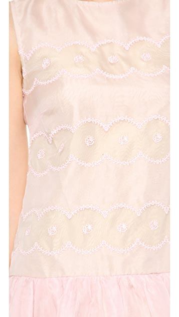 RED Valentino Cutout Embroidered Dropwaist Dress