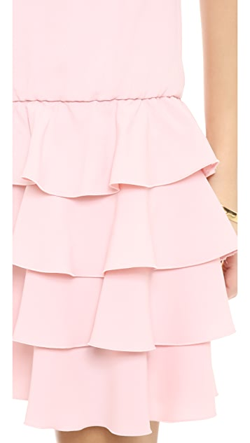 RED Valentino Drop Waist Ruffle Dress