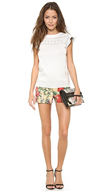 RED Valentino Macro Flower Print Shorts