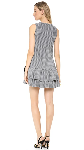 RED Valentino Multi Stripe Drop Waist Bow Dress