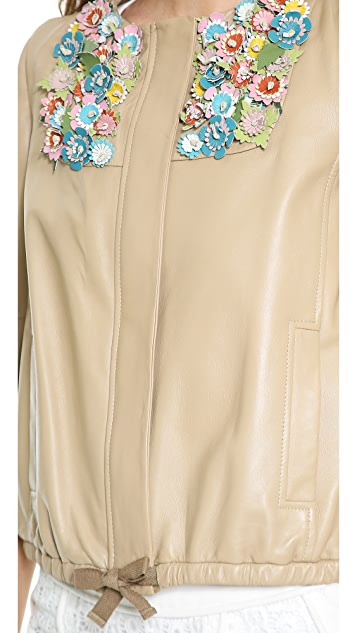 RED Valentino Leather Embellished Jacket