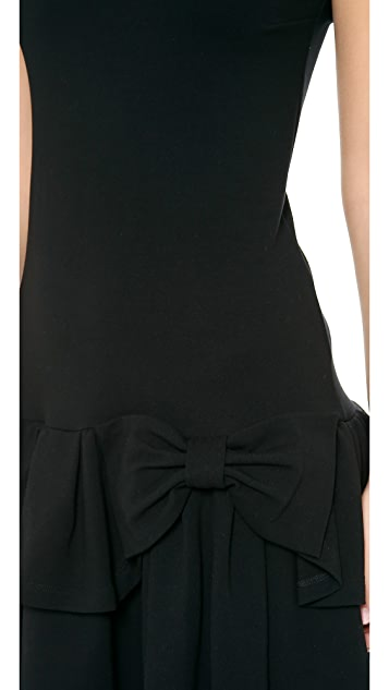 RED Valentino Ruffle Bow Jersey Dress